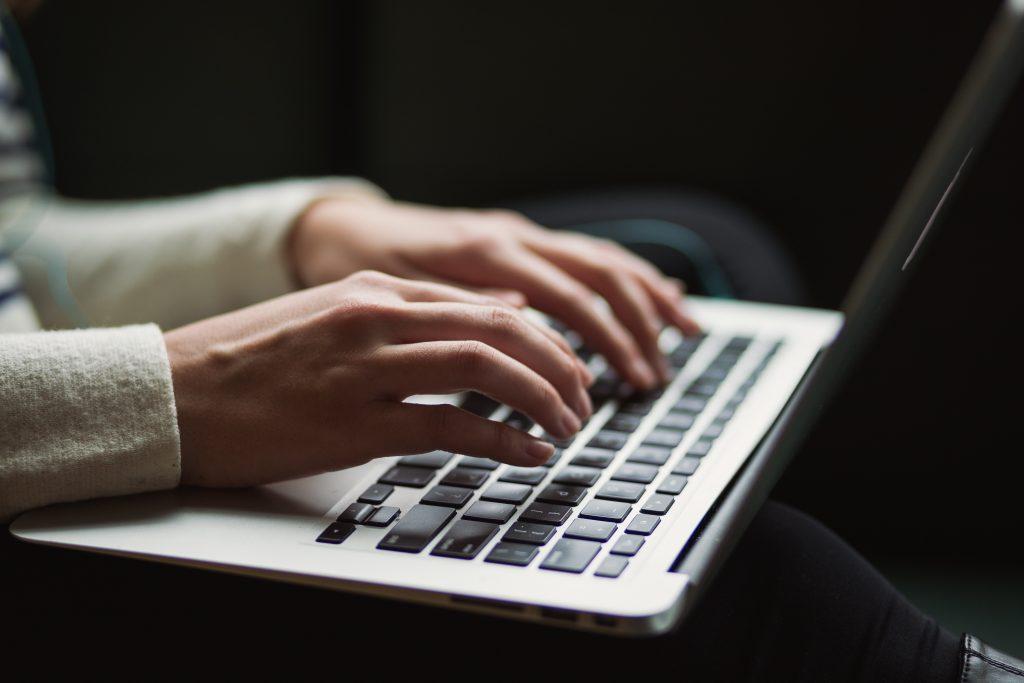 User on laptop
